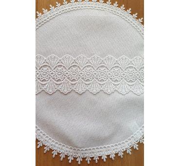 Serwetka swiąteczna z koronką śr. 40 biała 0405 - Wielkanoc - do koszyczka
