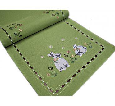 Nakładka świąteczna - 40x140 Zajączek - int 190140 zielony