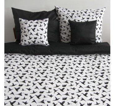 Pościel satynowa dwustronna - 200x220+2 jaśki - Origami - biały, czarny - 18704/4 - Andropol