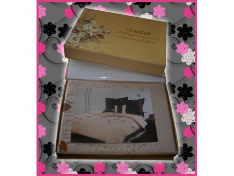 Komplet pościeli satynowej haftowanej Goldsun (wz 6)  160x200  - na ślubny prezent