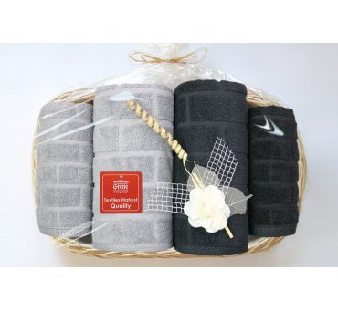 Komplet Ręczników IV - Brick - na prezent - Tacka - Jasny popiel, ciemny popiel  Greno