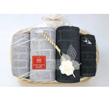 Kpl. Ręczników IV - Brick - na prezent - Tacka - Jasny popiel, ciemny popiel  Greno