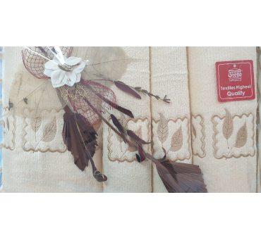 Kpl. Ręczników IV - Gracja - na prezent - Kosz - krem  Greno