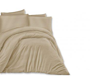 Jednobarwna pościel z satyny bawełnianej - Light Brown -140 x 200 +70x80 Cizgili - jasny brąz paski