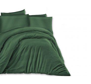 Jednobarwna pościel z satyny bawełnianej Dark Green 160x200  Cizgili - zieleń butelkowa