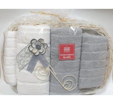 Kpl. Ręczników IV - Brick - na prezent - Tacka - jasny popiel, biały -  Greno