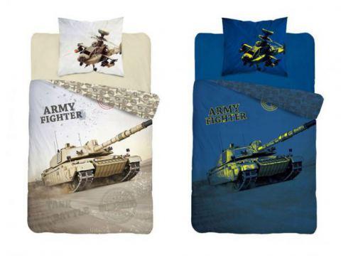 Pościel dla dzieci z bawełny - Czołg- 140x200 +70x80 - Army Fighter 2908 b świecąca  w ciemności
