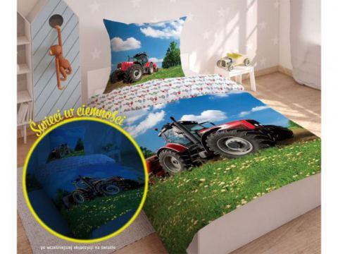 Pościel młodzieżowa Fluo- 140x200 +70x80 - Traktor 2639 b - dla dzieci  świecąca w ciemności