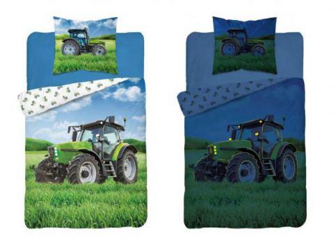 Pościel młodzieżowa Fluo- 140x200 +70x80 - Traktor 3281 b - dla dzieci  świecąca w ciemności