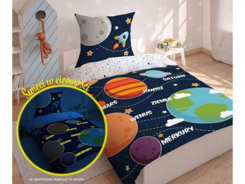 Pościel młodzieżowa Fluo- 140x200 +70x80 - Kosmos -  3038 a dla dzieci  świecąca w ciemności