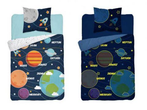 Pościel młodzieżowa Fluo- 160x200 +70x80 - Kosmos -  3038 a dla dzieci  świecąca w ciemności