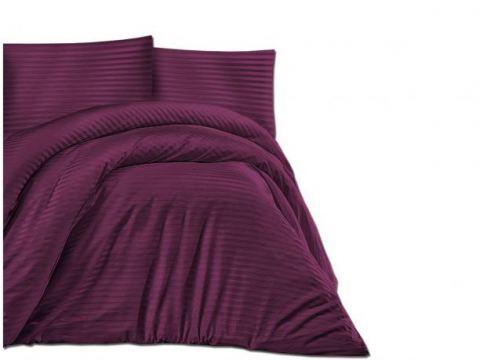 Jednobarwna pościel z satyny bawełnianej Cizgili violet śliwka -160x200 Cizgili - fiolet śliwka