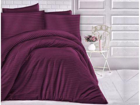 Jednobarwna pościel z satyny bawełnianej - Cizgili violet śliwka -180 x 200 Cizgili - fiolet śliwka