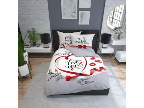 Pościel bawełniana - 160x200 - 3505 A - Love You - Holland  holenderska
