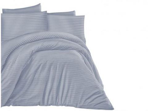 Jednobarwna pościel z satyny bawełnianej - Cizgili blue -140 x 200 +70x80