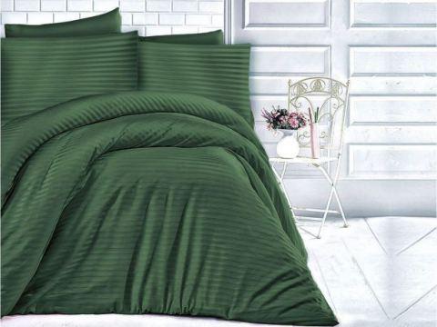 Jednobarwna pościel z satyny bawełnianej Dark Green 180x200  Cizgili - zieleń butelkowa