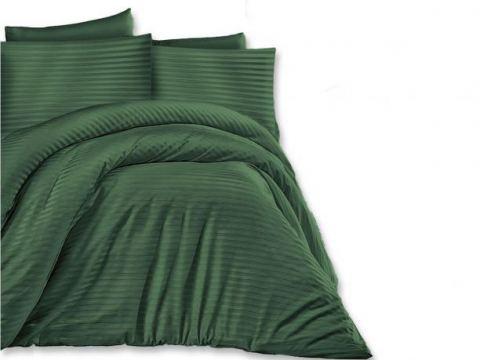 Jednobarwna pościel z satyny bawełnianej - Dark Green -180 x 200  Cizgili - zieleń butelkowa