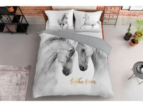 Pościel z bawełny - 160x200 - 3518 a -  Konie - Holland  holenderska