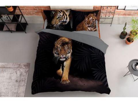 Pościel z bawełny - 160x200 - 3519 a -  Tygrys - Holland  holenderska