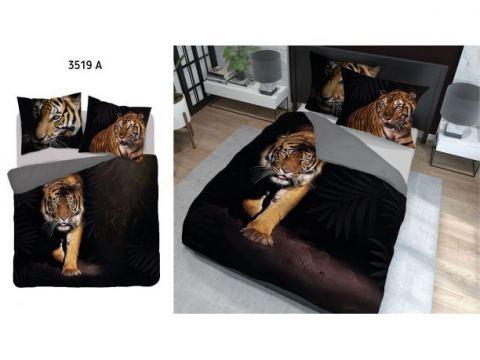 Pościel z bawełny - 220x200 - 3519 a -  Tygrys - Holland  holenderska