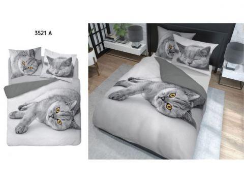 Pościel z bawełny - 160x200 - 3521 a -  Kotek - Holland  holenderska