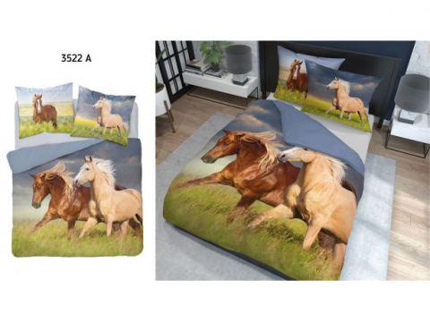 Pościel z bawełny - 220x200 - 3522 a -  Konie - Holland  holenderska