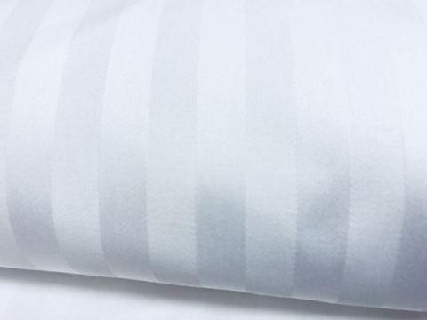 Pościel satynowa Adamaszek Biała w paski -140x200+70x80 - pasek 2,5 cm