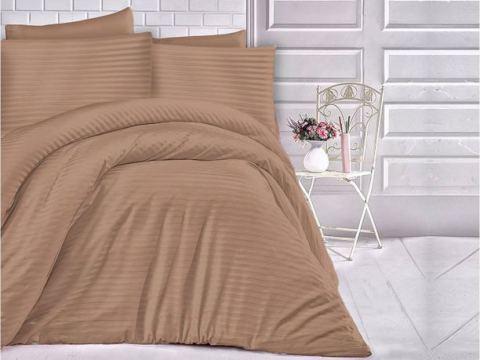 Jednobarwna pościel z satyny bawełnianej - 160x200 - Cizgili Cinnamon - cynamon