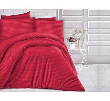 Jednobarwna pościel z satyny bawełnianej 180x200 -  paski czerwone - Cizgili Red