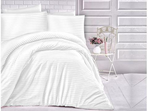 Satyna bawełniana jednobarwna 180x200 -  białe paski - Cizgili  White