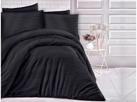 Pościel z satyny bawełnianej -  czarne paski - 140 x 200 + 70x80  Cizgili  Black