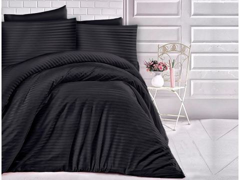 Satyna bawełniana  -  czarne paski - 160 x 200  Cizgili  Black