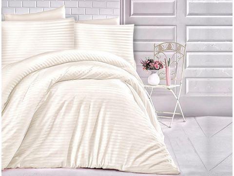 Pościel satyna bawełniana - paski kremowe - 180x200 Cizgili  Cream