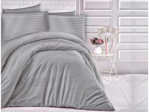 Satyna bawełniana - 180x200 - jednobarwna - szare paski - Cizgili  Grey szary