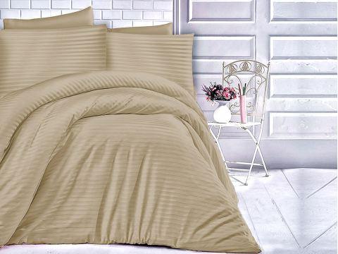 Jednobarwna pościel z satyny bawełnianej- 180x200 - Light Brown - Cizgili - jasny brąz paski