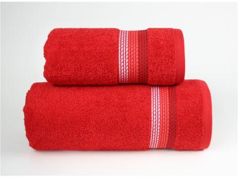 Ręcznik Ombre - 70x140 - Czerwony z bordiurą - jednobarwny -  Fine Collection -  Greno