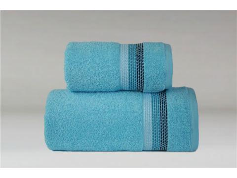 Ręcznik Ombre - 50x90 - turkusowy z bordiurą - jednobarwny -  Fine Collection -  Greno