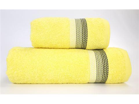 Ręcznik Ombre - 50x90 - żółty z bordiurą - jednobarwny -  Fine Collection -  Greno