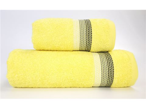 Ręcznik Ombre - 70x140 - żółty z bordiurą - jednobarwny -  Fine Collection -  Greno