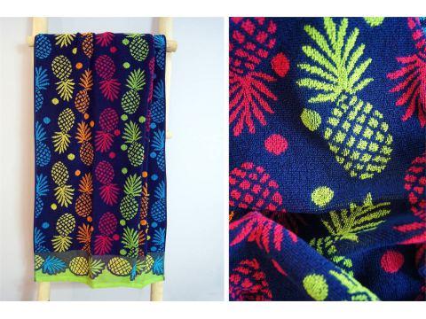Ręcznik plażowy - 70x140 cm - kąpielowy - Ananas Niebieski - Greno
