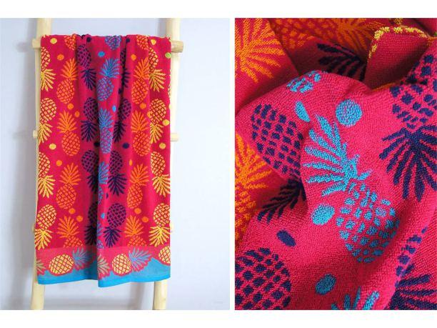 Ręcznik plażowy - 70x140 cm - kąpielowy - Ananas Różowy - Greno