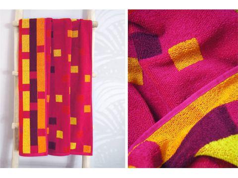 Ręcznik plażowy - 70x140 cm - kąpielowy - Geo Różowy - Greno