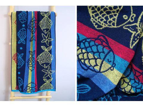 Ręcznik plażowy - 70x140 cm - kąpielowy - Rybki Niebieskie - Greno