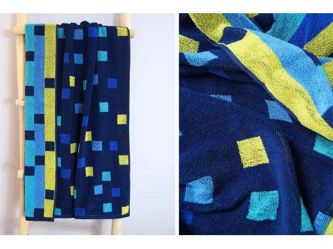 Ręcznik plażowy - 70x140 cm - kąpielowy - Geo Niebieski - Greno