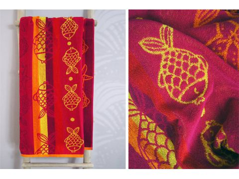 Ręcznik plażowy - 70x140 cm - kąpielowy - Rybki Różowe - Greno