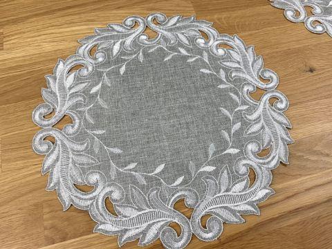 Serwetka haftowana - śr. 30 cm - popielata - int 471