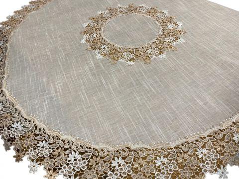 Dekoracyjny Obrus z gipiurą - śr. 130 cm - Len - int 0801