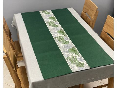 Dekoracyjny bieżnik - 70x140 cm - Flora - int 522 zielony - szal