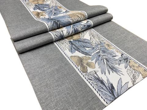 Dekoracyjny bieżnik - 40x140 cm - Flora - int 520 - popielaty