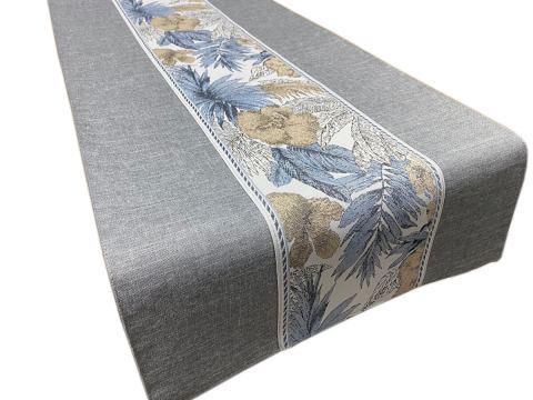 Dekoracyjny bieżnik - 70x140 cm - Flora - int 520 - popielaty - szal